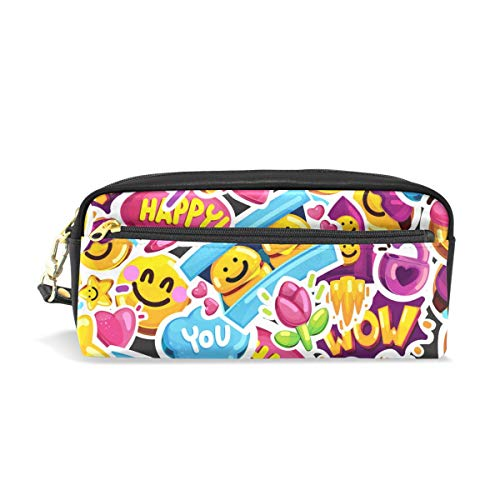 ey Faces emoji-Love bedruckt Travel Make-up Pouch Large Kapazität Wasserdicht Leder 2Fächer Best Halloween Geschenk für Kinder Mädchen Jungen ()