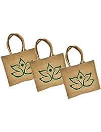 Maheshwari Jute Bag For Lunch & Shopping, Beige Bag, 16 X 4 X 14 Inches, Pack Of 3 Bags