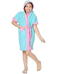 Sand Dune Girl's Hood Terry Cotton Half Sleeve Knee Length Bathrobe Gown with Pocket and Waist Belt