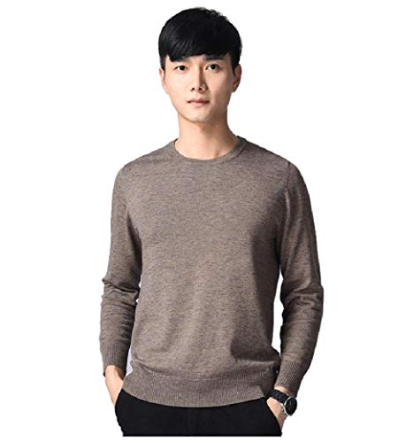 CuteRose Men Fall Winter Pullover Basic Ribbing Edge Thermal Warm Sweaters Brown S Elbow Sleeve Thermal