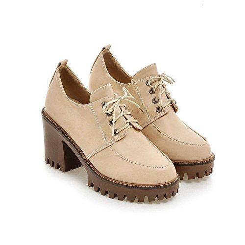 AllhqFashion Damen Pu Leder Hoher Absatz Rund Zehe Rein Schnüren Pumps Schuhe Aprikosen Farbe