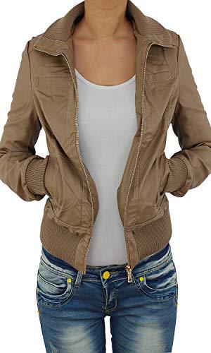 Sotala Damen Lederjacke Kunstlederjacke Leder Jacke Damenjacke Jacket Bikerjacke 09all S Hellbraun (Sexy Damen Leder Jacken)