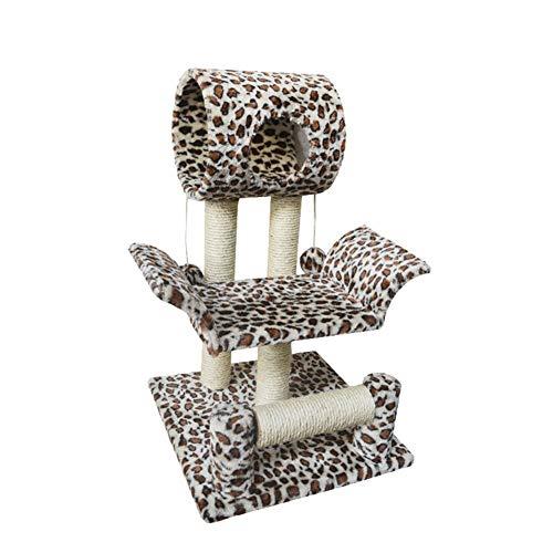 CHENGDABAO Leopard Cat Klettergerüst Kratzbaum Medium Cat Klettergerüst Cat Claw Board Cat Supplies (Color : Leopard, Size : 46 * 46 * 71)