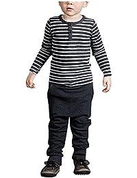 Covermason Niños Raya Manga larga Camiseta Tops y Pantalones (1 Conjunto)