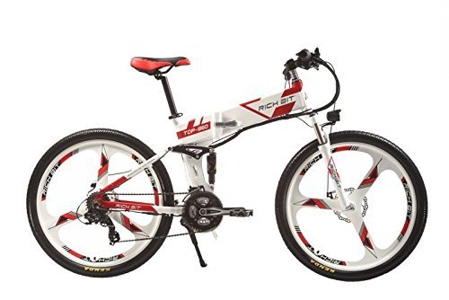 Rich Bit® New Updated RT-860 36V*250W Electric Bike Mountain Hybrid MTB Bike Bicycle Cycling Watertight Frame Inside Li-on Battery Quality Aluminum Alloy Folding Frame Suspension Fork 26inch Wheel Magnesium Integrated Wheel/Spokes White-Red (White-Red)
