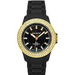 Avalanche Bliss Black Gold Diamante Crystal Ladies Girls Womens Wrist Watch