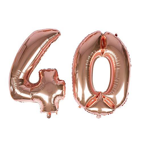 Globo gigante de oro rosa con número 40 de papel de aluminio mylar para decoraciones de 40 cumpleaños, eventos de Navidad, suministros – helio flotante