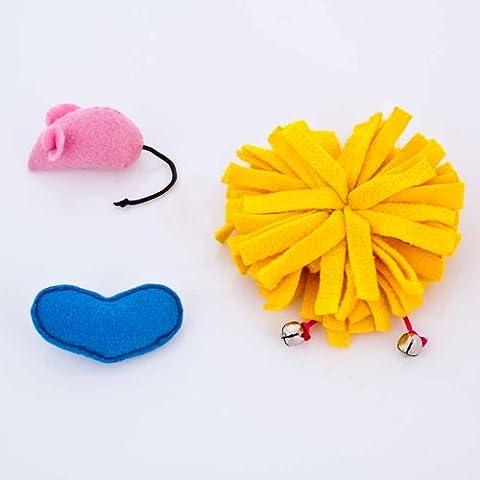 Blueberry Pet Toys For Cat Fleece Furry Ball + Felt Mouse + Felt Heart - 3-Piece Value Pack Catnip Cat Toy