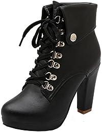 YE Damen Blockabsatz Plateau High Heel Stiefeletten mit Schnürung und Nieten  Elegant Herbst Winter Schuhe Short 62ed952a60