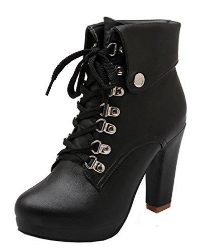 YE Damen Blockabsatz Plateau High Heel Stiefeletten mit Schnürung und Nieten Elegant Herbst Winter Schuhe Short Ankle Boots