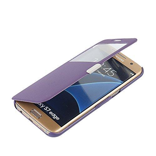 MTRONX Funda Samsung Galaxy S7 Edge, Cover Carcasa Case Caso Ventana Vista Ultra Folio Flip Twill Tela Asargada PU Cuero Delgado Piel con Cierre Magnetico para Samsung Galaxy S7 Edge - Morado(MG1-PP)