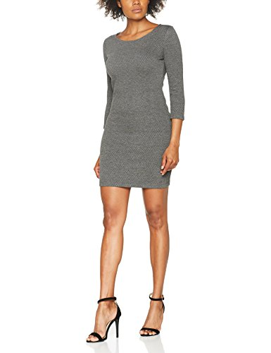 TOM TAILOR DENIM Damen Kleid Structured Bodycon Dress, Grau (Light Tarmac Grey Melange 2623), 36 (Herstellergröße: S)