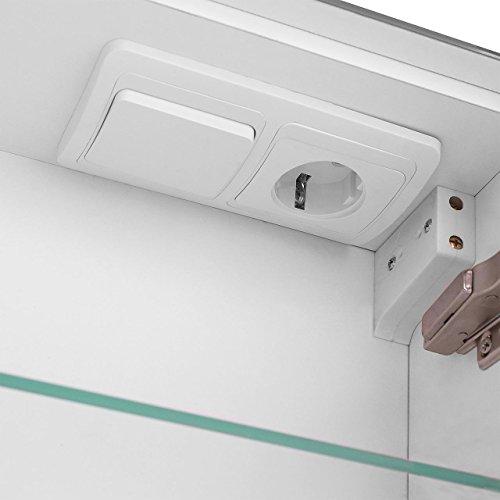 Badspiegelschrank beleuchtet BF01W90, 3-türig, 90x65x15cm, Weiss, inkl. Leuchtmittel - 6