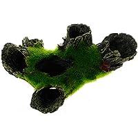 Hemore Acuario Roca Cueva Decoración con Césped Verde para Pesca Camarón Hidratación Acuario Adorno Mascotas Suministros