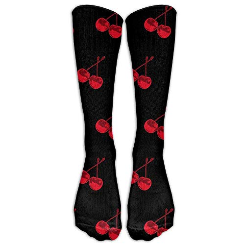 Red Cherry Spandex Faster Recovery Compression Knee Socks Sweat Uptake Sports Women Cartoon Casual Long Tube Crew Socks -