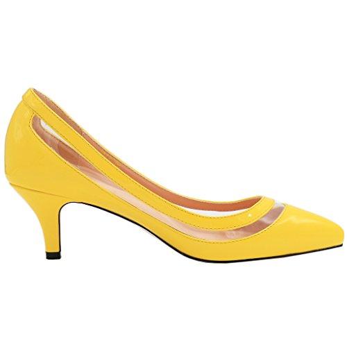 EKS Damen Lqoqop Solide Farbe Spitz Schuhe Comfrotable Low Heels Dress Pumps Gelb-Lackleder