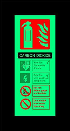 Kohlendioxid Feuerlöscher Hinweisschild–200mm x 80mm 1,2mm nachleuchtend starrer Kunststoff mit Selbstklebende Rückseite