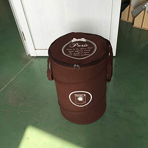 ETH Schmutziger Korb-Spielzeug-Vorratsbehälter-Baumwoll- Und Leinen-Faltbare Wäschekörbe-runde Polyester-Baumwollwäschekörbe/Schmutzige Kleidungs-Vorratskörbe (Farbe : Brown) -