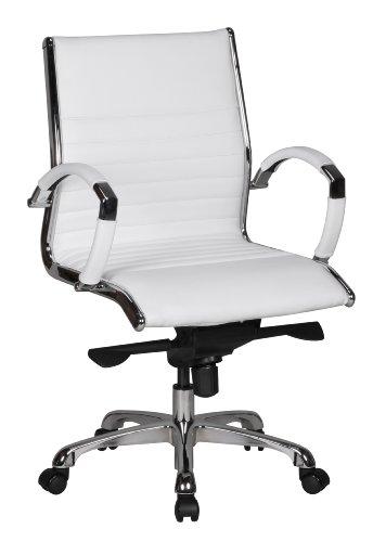 Amstyle Bürostuhl Salzburg 2 Bezug Echtleder Design Schreibtischstuhl X-XL 120 kg Chefsessel höhenverstellbar Drehstuhl ergonomisch mit Armlehnen Polster niedrige Rücken-Lehne Wippfunktion niedrig weiß