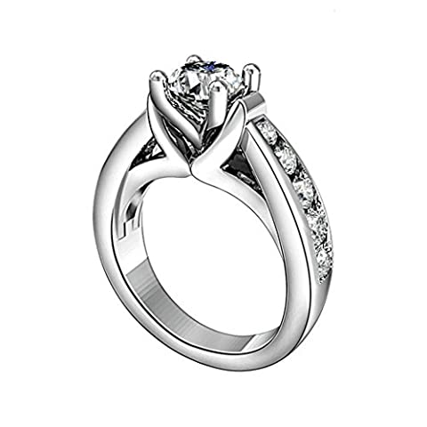 AMDXD Jewelry Sterling Silver Women Promise Customizable Rings 4-Prong CZ Size T 1/2,Engraving