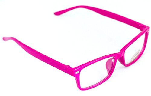 Nerd-Brille Slim Fit ohne Sehstärke Pink 15cm Damen Herren Unisex Lese-Brille Klar-Glas Geek-Brille Party-Brille Schmal