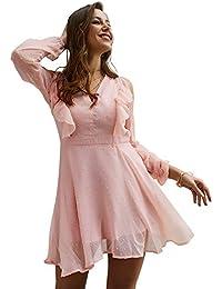 4d73c8d6345d Vestito da donna Mini abito corto in chiffon corto da donna Manica lunga con  scollo a