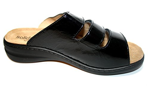 Solidus - Special 210720 618 0001 donna Pantoletten, natur comfort, fodera in pelle piedicon ietto, Weite H Nero (nero)