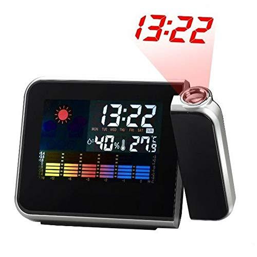 DHYBDZ Projektionswecker LED-Farbbildschirm Wettervorhersage Ewiger Kalender Wetterstation Schlummerfunktion Timing Elektronische Projektionsuhr für Schlafzimmer Büro