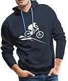 Spreadshirt Mountainbike MTB Downhill Fahrrad Männer Premium Hoodie, L, Navy