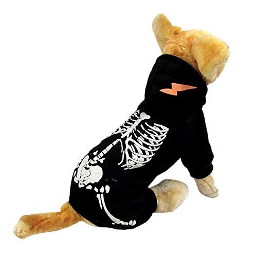 NACOCO Hund Kostüm Dinosaurier Kostüme Skelett Hoodies für Hunde Kleidung Halloween Tag Party Totenkopf Apparel, L, Schwarz