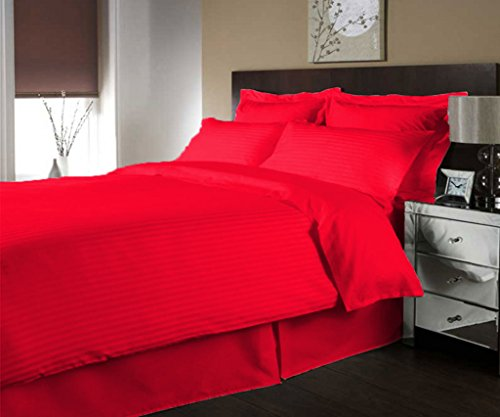 scalabedding Luxe 300Fäden aus ägyptischer Baumwolle Streifen Bettbezug farblich und Decken Kissen komplett rot Hot (Ägyptische Baumwolle Streifen-decke)