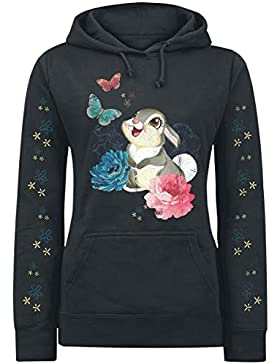 BAMBI Klopfer - Flowers & Butterflies Jersey con Capucha Mujer Negro