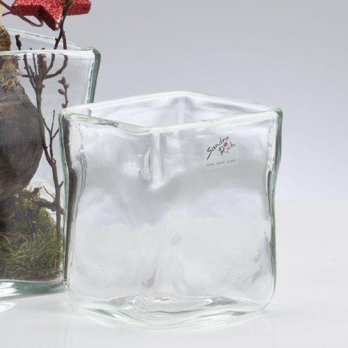 Glasvase SOLID Vase Glas Tischvase Blumenvase Würfel Rechteck, klar, 10,5 cm (Rechteck-glas-vase)