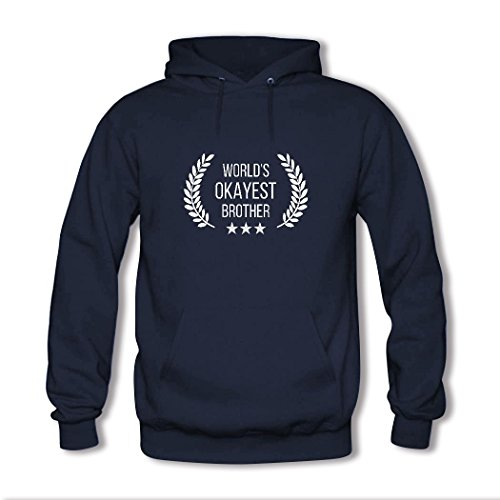 HGLee Printed Personalized Custom World's Okayest Brother Classic Women Hoodie Hooded Sweatshirt Navy--1