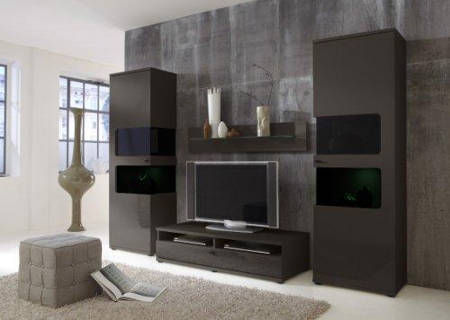 Wohnwand Anbauwand Grau, Fronten Hochglanz, optional mit LED-Beleuchtung (Film), Beleuchtung:ohne Beleuchtung