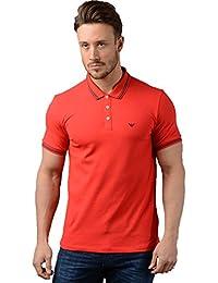 Emporio Armani Hombre Piqué Algodón Doble Camiseta Polo Punta Rojo b196ca803297d