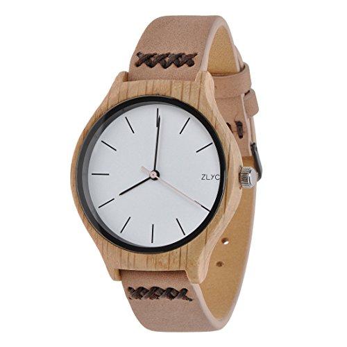 ZLYC Damen Original Design Handgefertigte Klassische Quarz-Armbanduhr aus Holz mit Rindslederarmband ,Beige