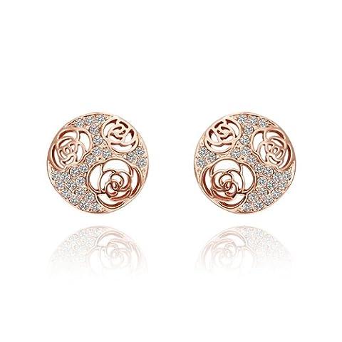 FushoP Hollow Rose 18K Boucles d'oreilles en Cristal pour Femmes Filles (Rose plaqué or)