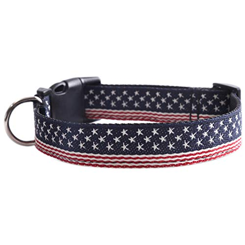 koiry Pet Dog Puppy Collar Neck Strap American Flag Printing Adjustable Decoration Supplies -