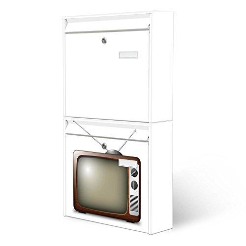 BANJADO Briefkastenanlage 2 fach   Stahl weiß mit 2 Briefkästen   Doppelbriefkasten 36x64x10cm   inklusive Namensschild   Wandmontage mit Motiv Fernseher