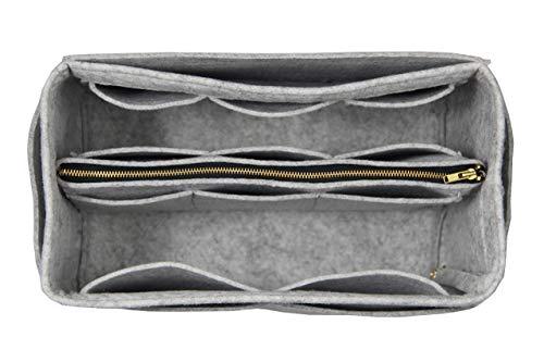 [Passt Le Pliage Tote Bag L, grau] Geldbörse einfügen (3mm Filz, abnehmbare Tasche w/Metall Zip), Filz Tasche Organizer -