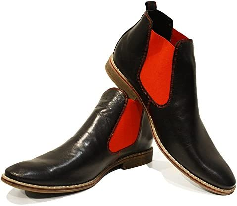 PeppeShoes Modello Lamano - Cuero Italiano Hecho A Mano Hombre Piel Rojo Chelsea Botas Botines - Cuero Cuero Suave...