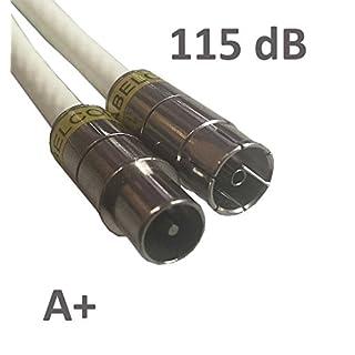 Kab24® HQ Antennenkabel Schirmung > 115 dB EN 60966-2-6 Klasse A+ mit beidseitigen Kompressionssteckern (10m, Koax-Stecker <> Koax Buchse)