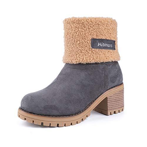 NEOKER Damen Winterschuhe Schneestiefel Plateau Shorts Stiefel Chunky Heels Boots Stiefeletten Fell Bequeme Gefüttert Mode Schuhe 6 cm Grey 39