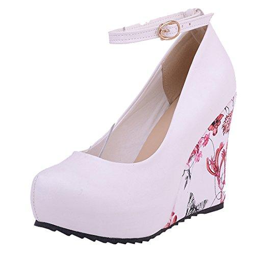 Agodor Damen Plateau Riemchen Pumps mit Schnalle und Blumen Keilabsatz High Heels Moderne Schuhe
