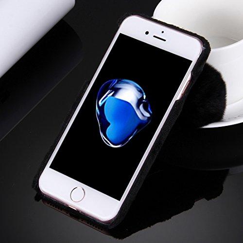 YAN Für iPhone 7 Plus Plüsch Tuch Abdeckung PC Schutzhülle mit Pelz Ball Kette Anhänger ( Color : White ) Black