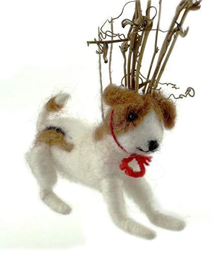 Amor Hunde Kostüm - Creative Co-op Dekofigur, Grinch Puppy mit Rentiergeweih, zum Aufhängen