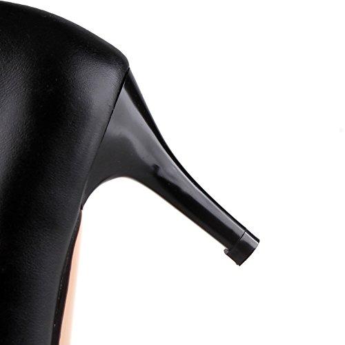 Große Schuhgröße Lackleder Bankett Spitze Schuhe Feine Absätze Mittlere Absätze Sexy Strass Hochzeit Pumps Damenschuhe 05 BX0005-A-Schwarz