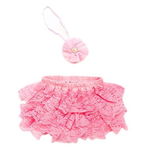 kingko® Kleinkind Baby Neugeborene 0-3 Monate Lace Set Kleider Foto Prop Jubiläums Outfits Haarband + kurzen Rock (Rosa) (Diamant Kostüm Halloween)