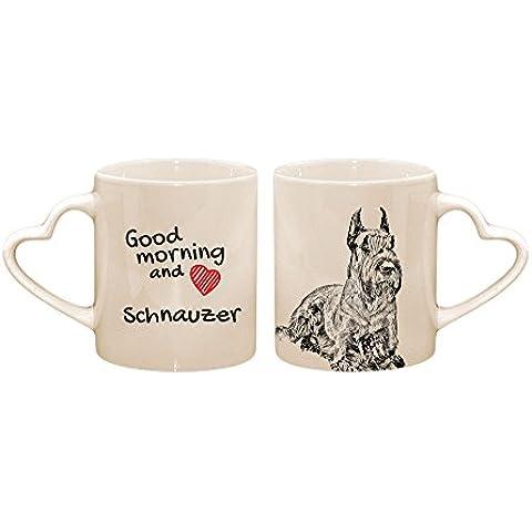 Schnauzer ritagliata, Tazza con un cane, tazza, ceramica, nuova collezione, manico cuore